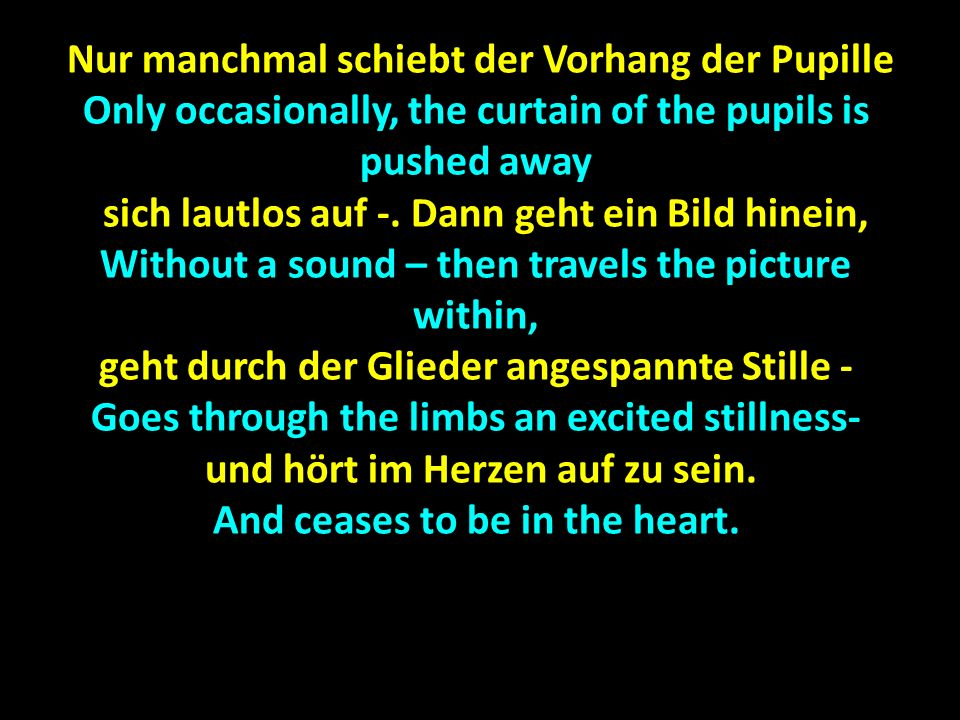 Nur manchmal schiebt der Vorhang der Pupille Nur manchmal schiebt der Vorhang der Pupille Only occasionally, the curtain of the pupils is pushed away sich lautlos auf -.
