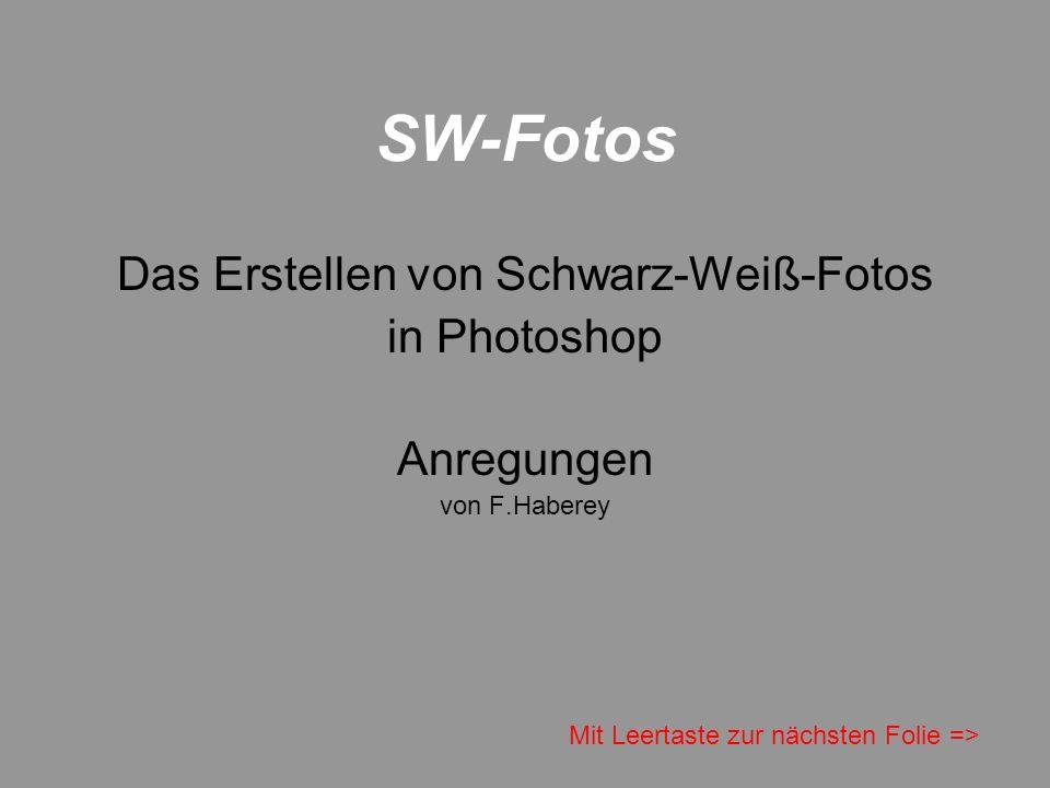 SW-Fotos Das Erstellen von Schwarz-Weiß-Fotos in Photoshop Anregungen von F.Haberey Mit Leertaste zur nächsten Folie =>