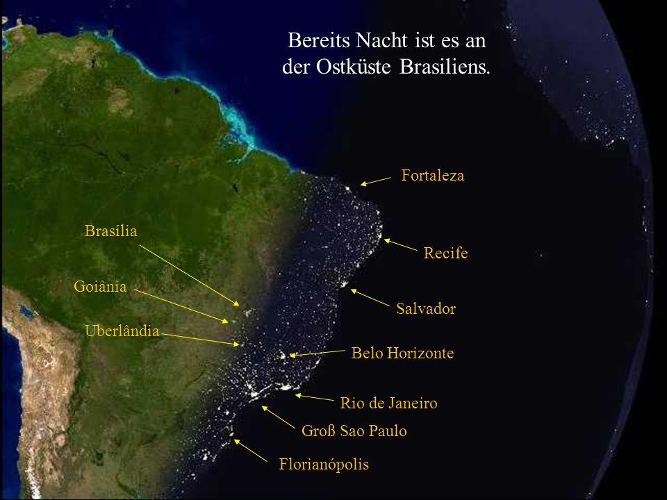 Groß Sao Paulo Rio de Janeiro Belo Horizonte Salvador Atlantischer Ozean Brazilianische Kontinental Plattform. Nacht wird es in Brasilien