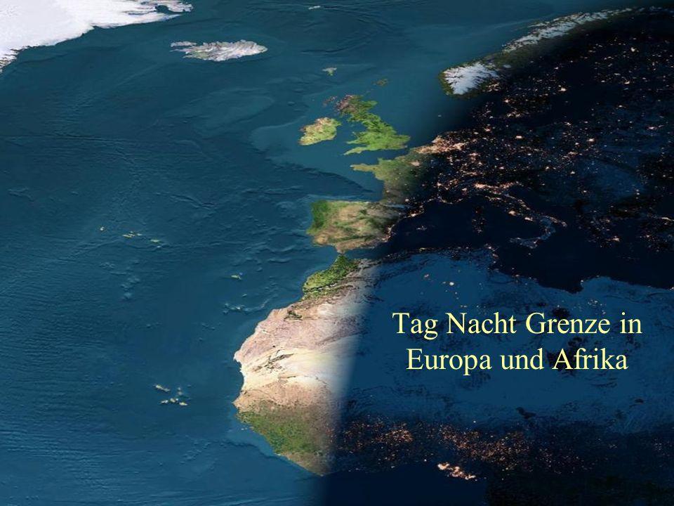 Tag Nacht Grenze in Europa und Afrika