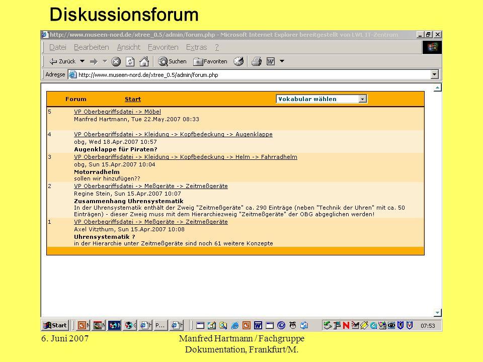 6. Juni 2007Manfred Hartmann / Fachgruppe Dokumentation, Frankfurt/M. Diskussionsforum