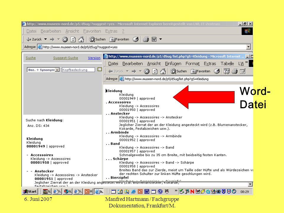 6. Juni 2007Manfred Hartmann / Fachgruppe Dokumentation, Frankfurt/M. Word- Datei
