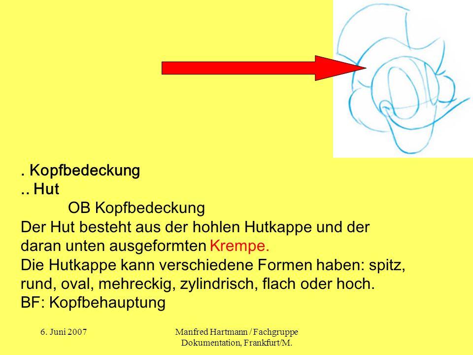 6. Juni 2007Manfred Hartmann / Fachgruppe Dokumentation, Frankfurt/M.. Kopfbedeckung.. Hut OB Kopfbedeckung Der Hut besteht aus der hohlen Hutkappe un