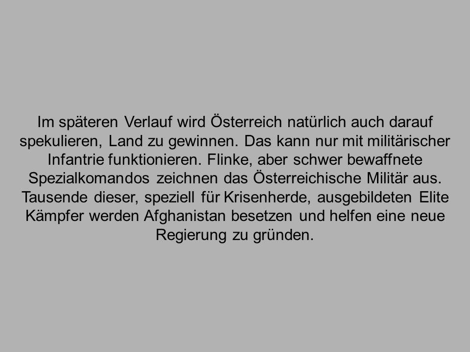 Im späteren Verlauf wird Österreich natürlich auch darauf spekulieren, Land zu gewinnen.