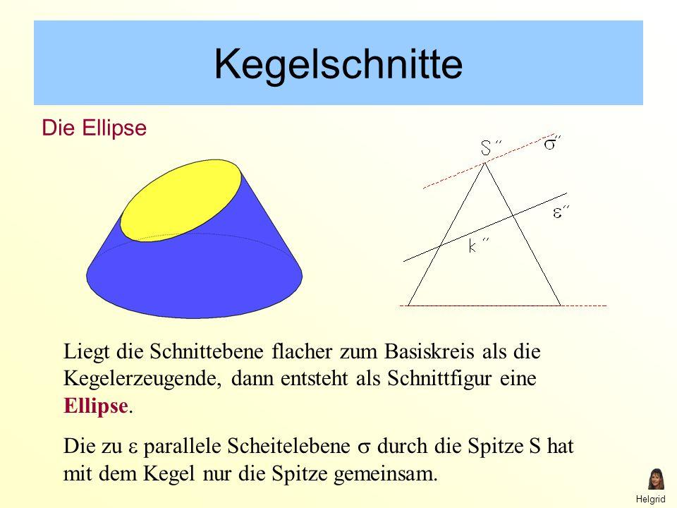 Helgrid Kegelschnitte Liegt die Schnittebene flacher zum Basiskreis als die Kegelerzeugende, dann entsteht als Schnittfigur eine Ellipse.