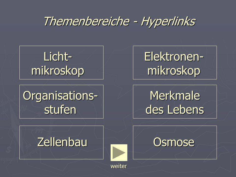 Themenbereiche - Hyperlinks Licht- mikroskop Licht- mikroskop Organisations- stufen Organisations- stufen Zellenbau Merkmale des Lebens Merkmale des L