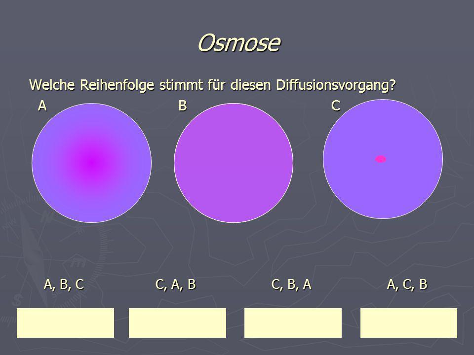 Osmose Welche Reihenfolge stimmt für diesen Diffusionsvorgang? A B C A B C A, B, C A, B, C A, C, B A, C, B C, B, A C, B, A C, A, B C, A, B