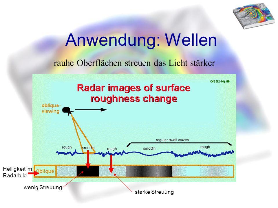 Anwendung: Wellen rauhe Oberflächen streuen das Licht stärker wenig Streuung starke Streuung Helligkeit im Radarbild
