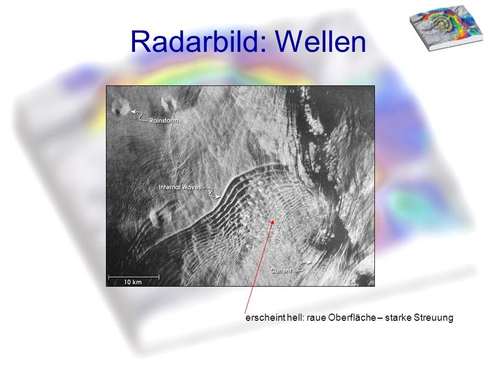 Radarbild: Wellen erscheint hell: raue Oberfläche – starke Streuung