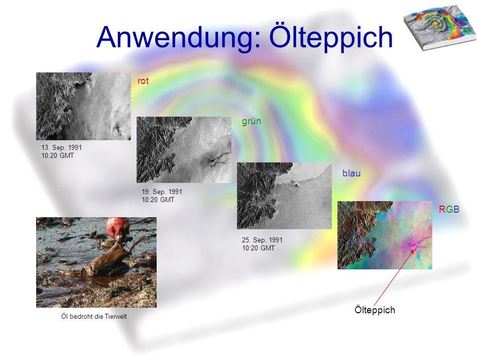 Anwendung: Ölteppich rot grün blau RGBRGB 13. Sep. 1991 10:20 GMT 19. Sep. 1991 10:20 GMT 25. Sep. 1991 10:20 GMT Ölteppich Öl bedroht die Tierwelt