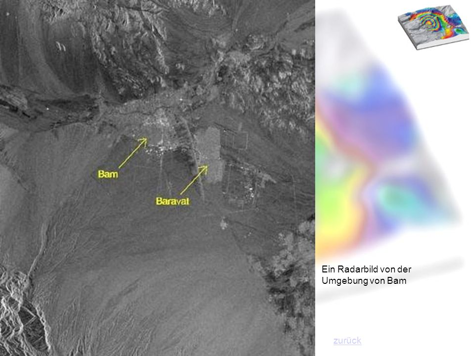 Ein Radarbild von der Umgebung von Bam zurück