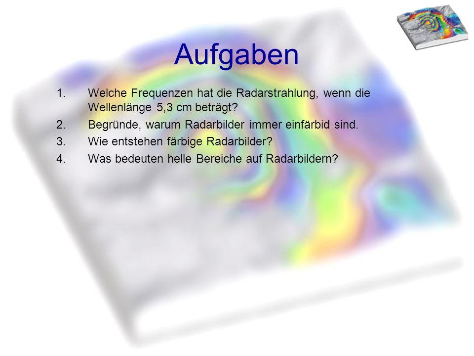 Aufgaben 1.Welche Frequenzen hat die Radarstrahlung, wenn die Wellenlänge 5,3 cm beträgt? 2.Begründe, warum Radarbilder immer einfärbid sind. 3.Wie en