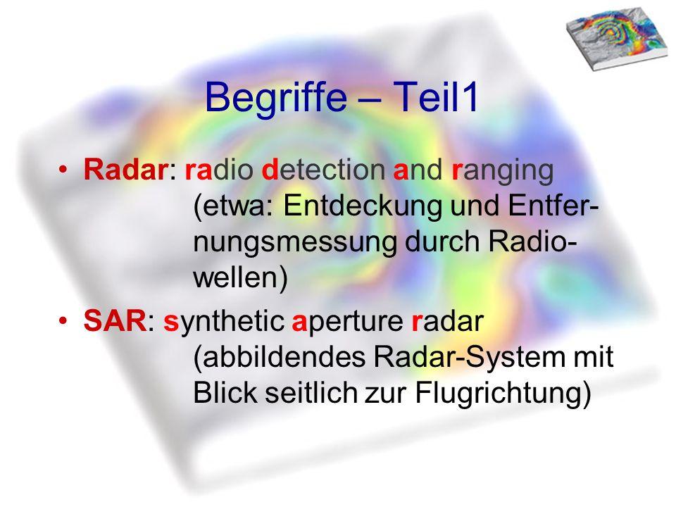 Begriffe – Teil1 Radar: radio detection and ranging (etwa: Entdeckung und Entfer- nungsmessung durch Radio- wellen) SAR: synthetic aperture radar (abb