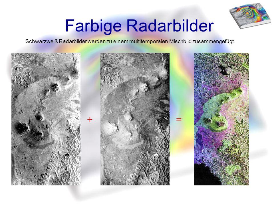 Farbige Radarbilder += Schwarzweiß Radarbilder werden zu einem multitemporalen Mischbild zusammengefügt.