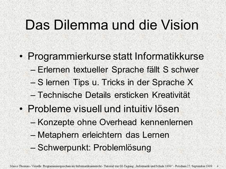 Marco Thomas - Visuelle Programmiersprachen im Informatikunterricht - Tutorial zur GI-Tagung Informatik und Schule 1999 - Potsdam 25. September 1999 4