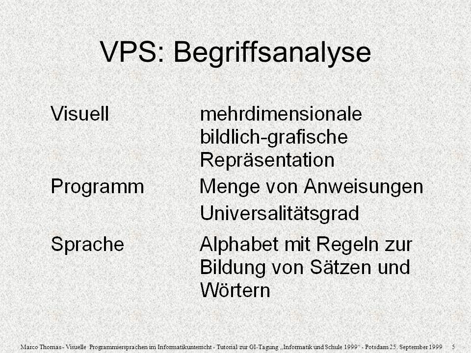 Marco Thomas - Visuelle Programmiersprachen im Informatikunterricht - Tutorial zur GI-Tagung Informatik und Schule 1999 - Potsdam 25. September 1999 5