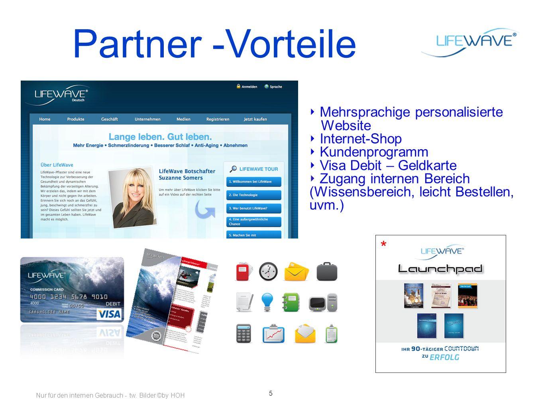5 Partner -Vorteile Mehrsprachige personalisierte Website Internet-Shop Kundenprogramm Visa Debit – Geldkarte Zugang internen Bereich (Wissensbereich, leicht Bestellen, uvm.) * Nur für den internen Gebrauch - tw.