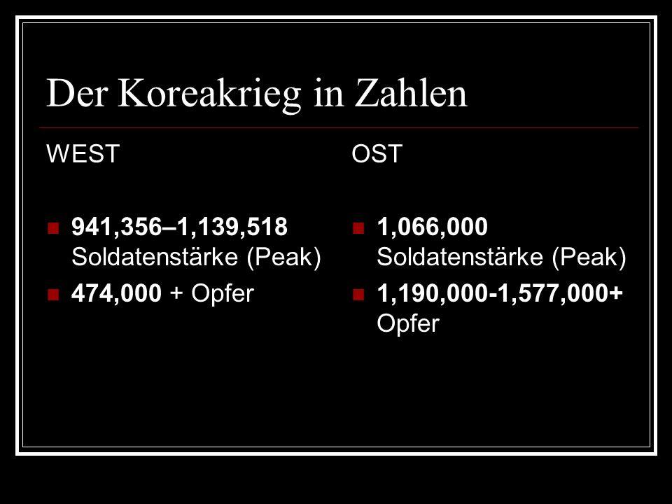 Der Koreakrieg in Zahlen WEST 941,356–1,139,518 Soldatenstärke (Peak) 474,000 + Opfer OST 1,066,000 Soldatenstärke (Peak) 1,190,000-1,577,000+ Opfer