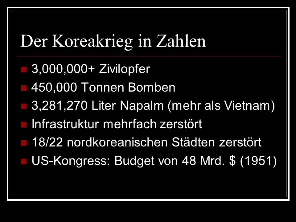 Der Koreakrieg in Zahlen 3,000,000+ Zivilopfer 450,000 Tonnen Bomben 3,281,270 Liter Napalm (mehr als Vietnam) Infrastruktur mehrfach zerstört 18/22 n