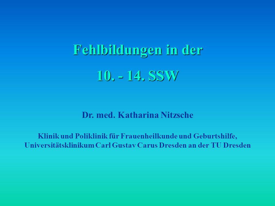 Fehlbildungen in der 10.- 14. SSW Dr. med.
