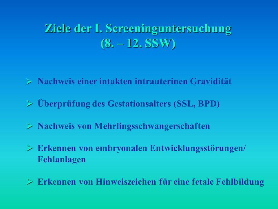 Ziele der I.Screeninguntersuchung (8. – 12.
