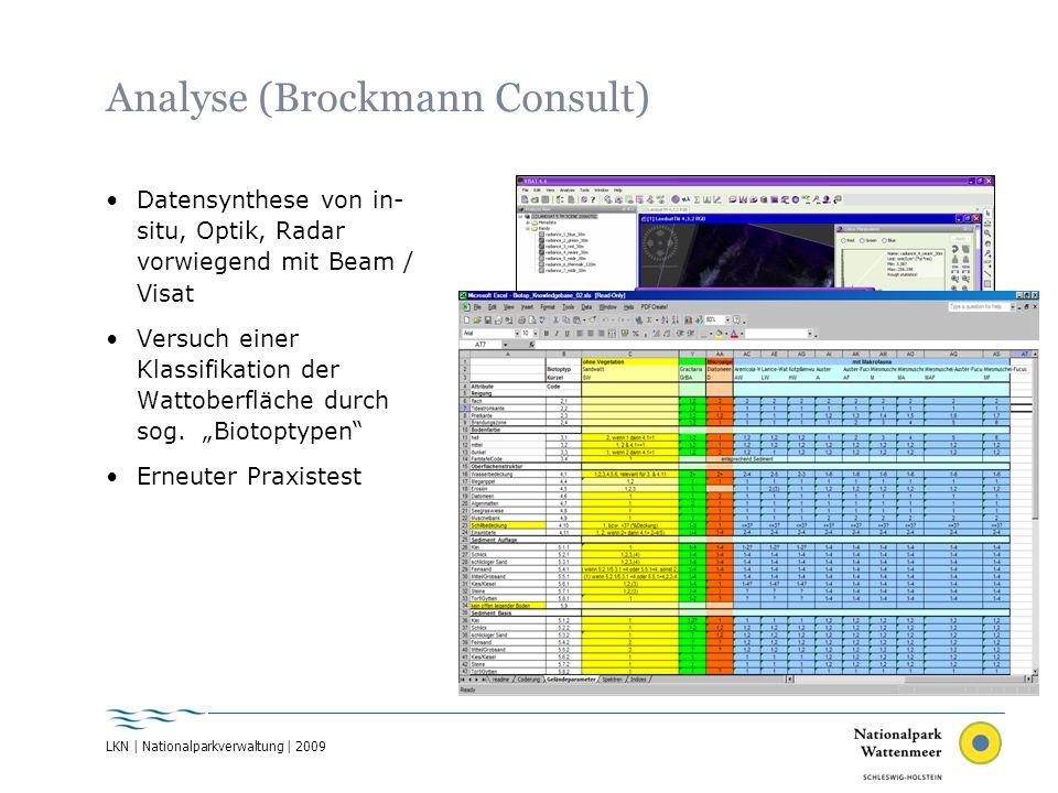 Analyse (Brockmann Consult) Datensynthese von in- situ, Optik, Radar vorwiegend mit Beam / Visat Versuch einer Klassifikation der Wattoberfläche durch