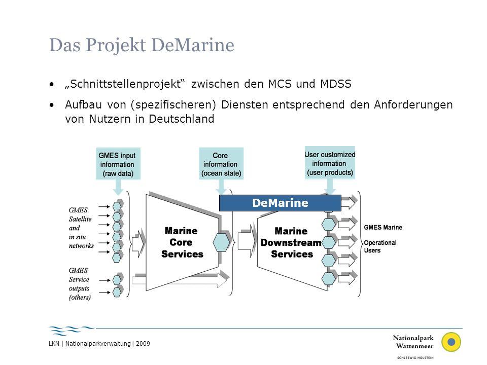 LKN | Nationalparkverwaltung | 2009 Das Projekt DeMarine Schnittstellenprojekt zwischen den MCS und MDSS Aufbau von (spezifischeren) Diensten entsprec