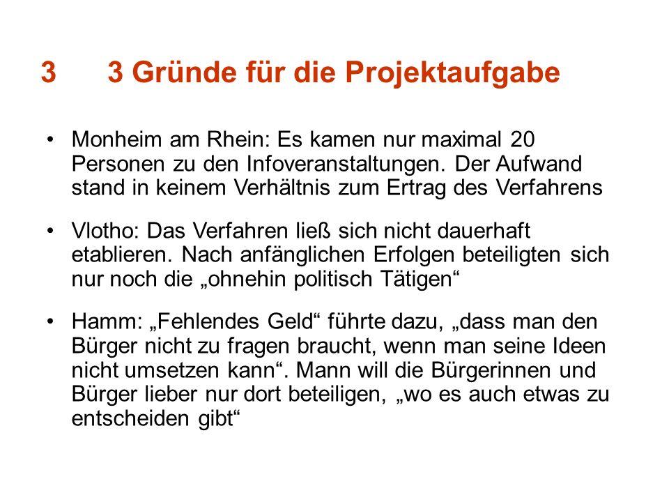 33 Gründe für die Projektaufgabe Monheim am Rhein: Es kamen nur maximal 20 Personen zu den Infoveranstaltungen. Der Aufwand stand in keinem Verhältnis
