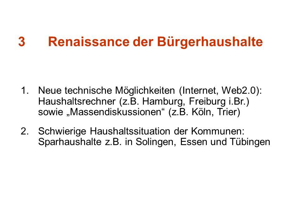 3Renaissance der Bürgerhaushalte 1.Neue technische Möglichkeiten (Internet, Web2.0): Haushaltsrechner (z.B. Hamburg, Freiburg i.Br.) sowie Massendisku
