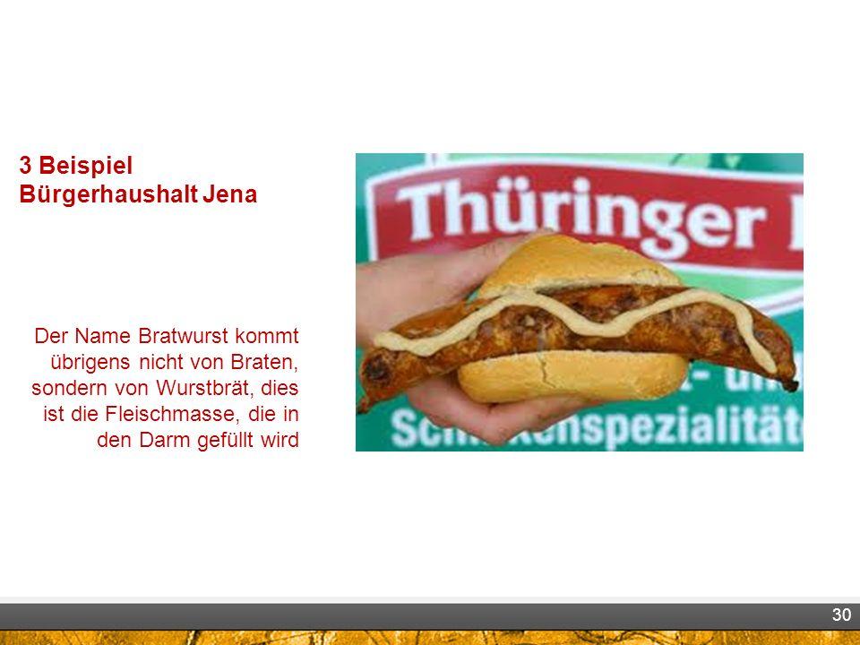 3 Beispiel Bürgerhaushalt Jena Der Name Bratwurst kommt übrigens nicht von Braten, sondern von Wurstbrät, dies ist die Fleischmasse, die in den Darm gefüllt wird 30