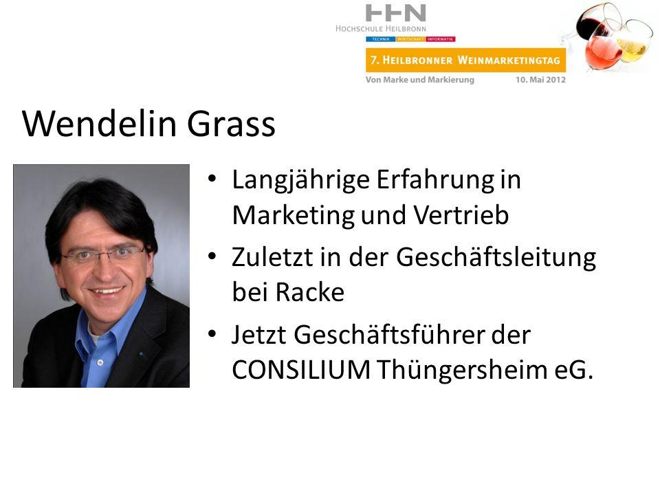 Wendelin Grass Langjährige Erfahrung in Marketing und Vertrieb Zuletzt in der Geschäftsleitung bei Racke Jetzt Geschäftsführer der CONSILIUM Thüngersh