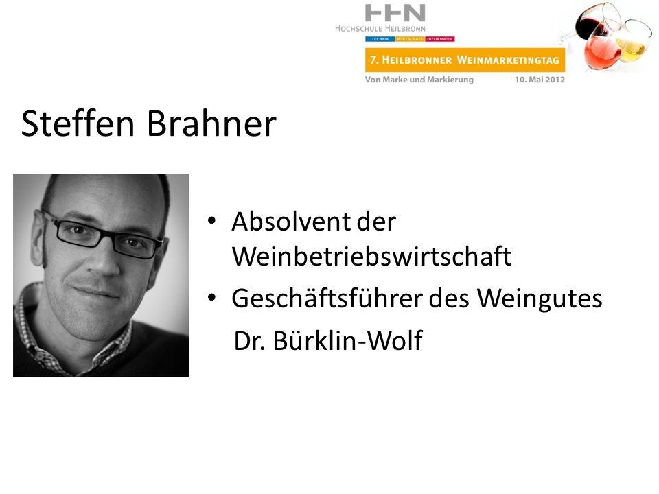 Absolvent der Weinbetriebswirtschaft Geschäftsführer des Weingutes Dr. Bürklin-Wolf Steffen Brahner