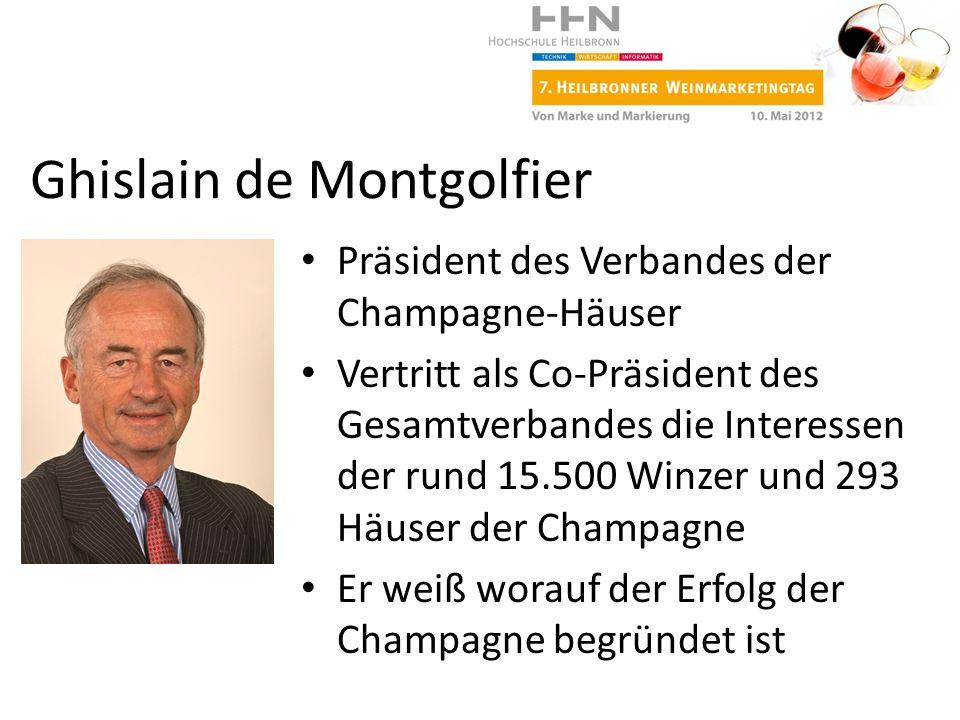 Präsident des Verbandes der Champagne-Häuser Vertritt als Co-Präsident des Gesamtverbandes die Interessen der rund 15.500 Winzer und 293 Häuser der Ch