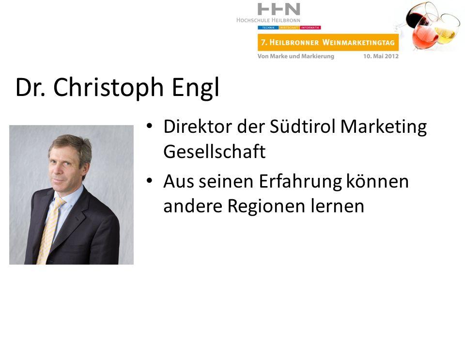 Direktor der Südtirol Marketing Gesellschaft Aus seinen Erfahrung können andere Regionen lernen Dr. Christoph Engl