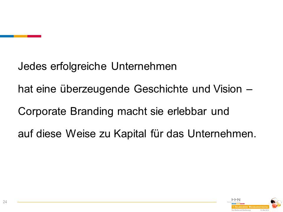 24 Jedes erfolgreiche Unternehmen hat eine überzeugende Geschichte und Vision – Corporate Branding macht sie erlebbar und auf diese Weise zu Kapital f