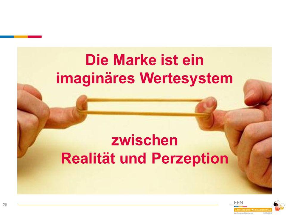 26 Die Marke ist ein imaginäres Wertesystem zwischen Realität und Perzeption