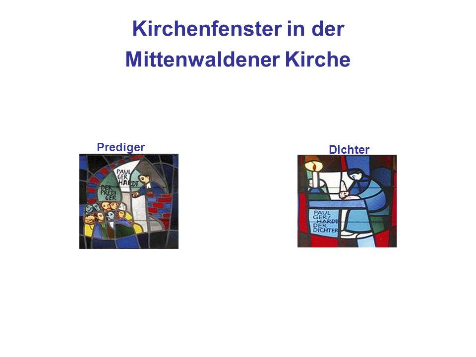 Kirchenfenster in der Mittenwaldener Kirche Dichter Prediger