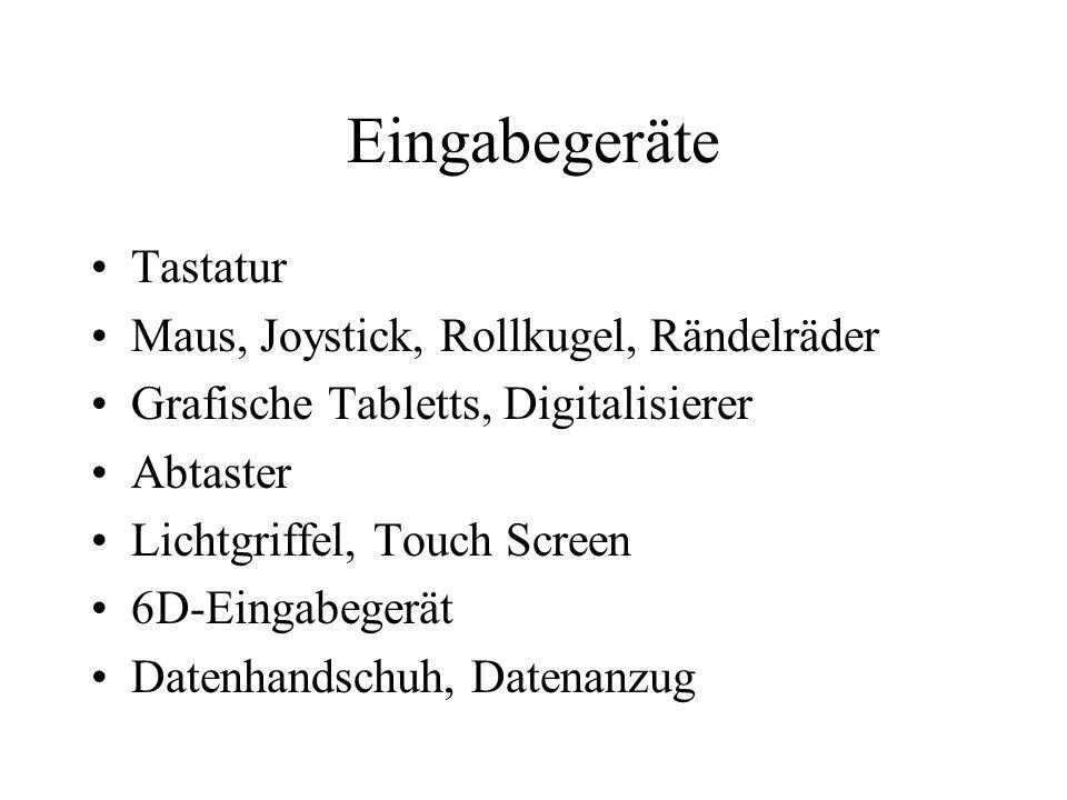 Eingabegeräte Tastatur Maus, Joystick, Rollkugel, Rändelräder Grafische Tabletts, Digitalisierer Abtaster Lichtgriffel, Touch Screen 6D-Eingabegerät D