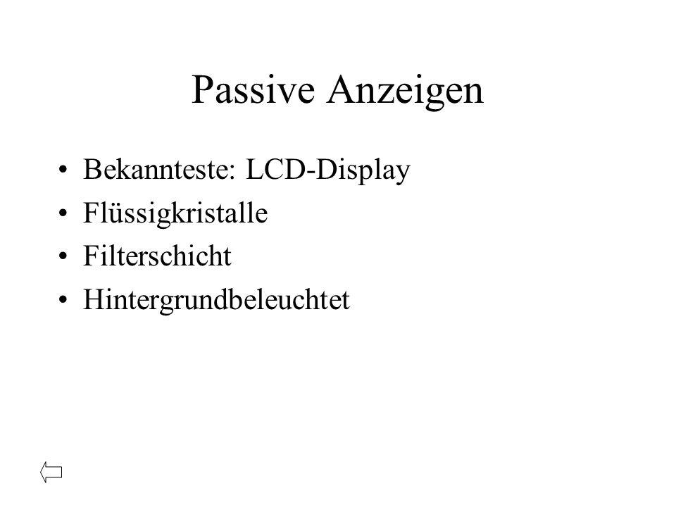 Passive Anzeigen Bekannteste: LCD-Display Flüssigkristalle Filterschicht Hintergrundbeleuchtet