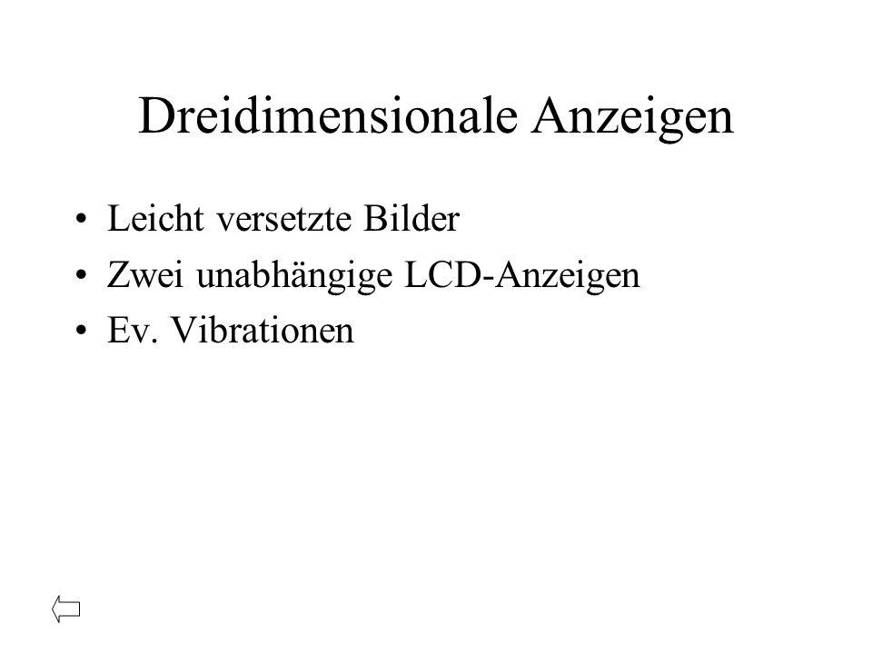 Dreidimensionale Anzeigen Leicht versetzte Bilder Zwei unabhängige LCD-Anzeigen Ev. Vibrationen
