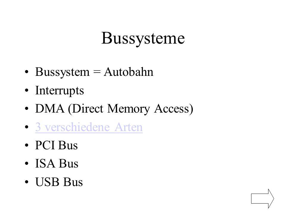 Bussysteme Bussystem = Autobahn Interrupts DMA (Direct Memory Access) 3 verschiedene Arten PCI Bus ISA Bus USB Bus