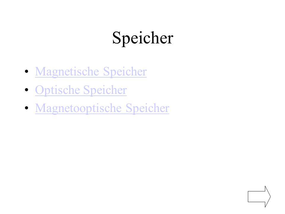 Speicher Magnetische Speicher Optische Speicher Magnetooptische Speicher