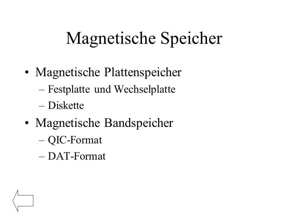 Magnetische Speicher Magnetische Plattenspeicher –Festplatte und Wechselplatte –Diskette Magnetische Bandspeicher –QIC-Format –DAT-Format