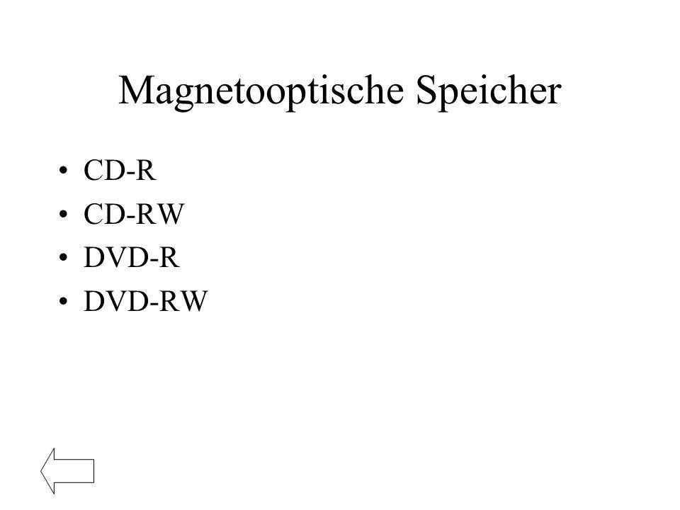 Magnetooptische Speicher CD-R CD-RW DVD-R DVD-RW