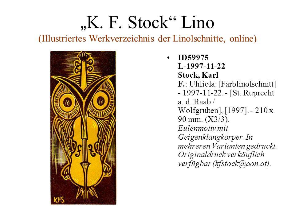 K. F. Stock Lino (Illustriertes Werkverzeichnis der Linolschnitte, online) ID59975 L-1997-11-22 Stock, Karl F.: Uhliola: [Farblinolschnitt] - 1997-11-
