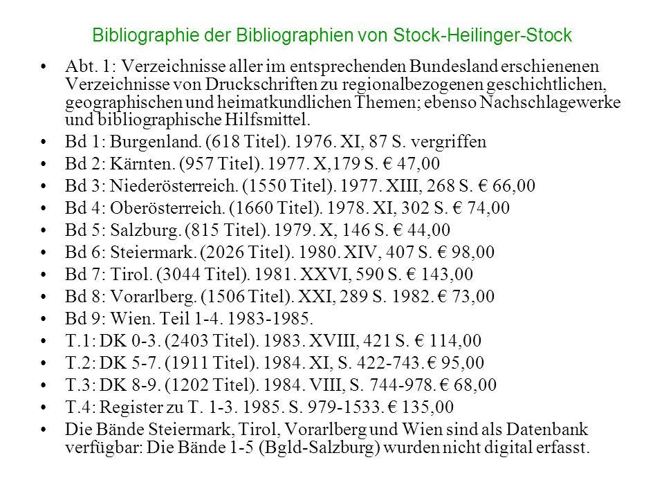 Bibliographie der Bibliographien von Stock-Heilinger-Stock Abt. 1: Verzeichnisse aller im entsprechenden Bundesland erschienenen Verzeichnisse von Dru