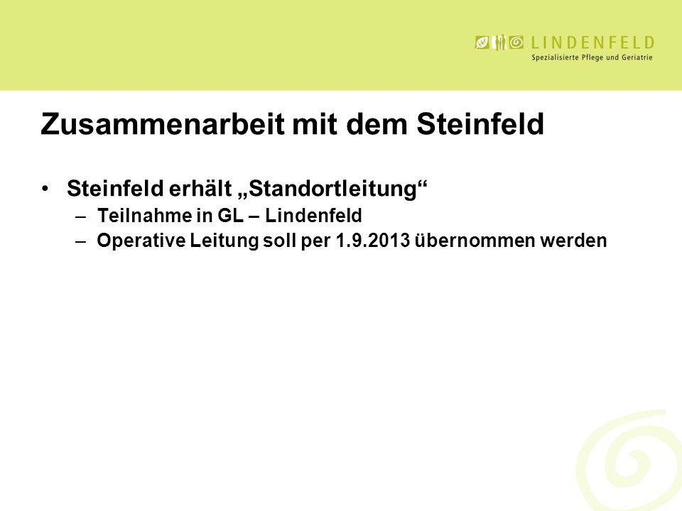 Zusammenarbeit mit dem Steinfeld Steinfeld erhält Standortleitung –Teilnahme in GL – Lindenfeld –Operative Leitung soll per 1.9.2013 übernommen werden