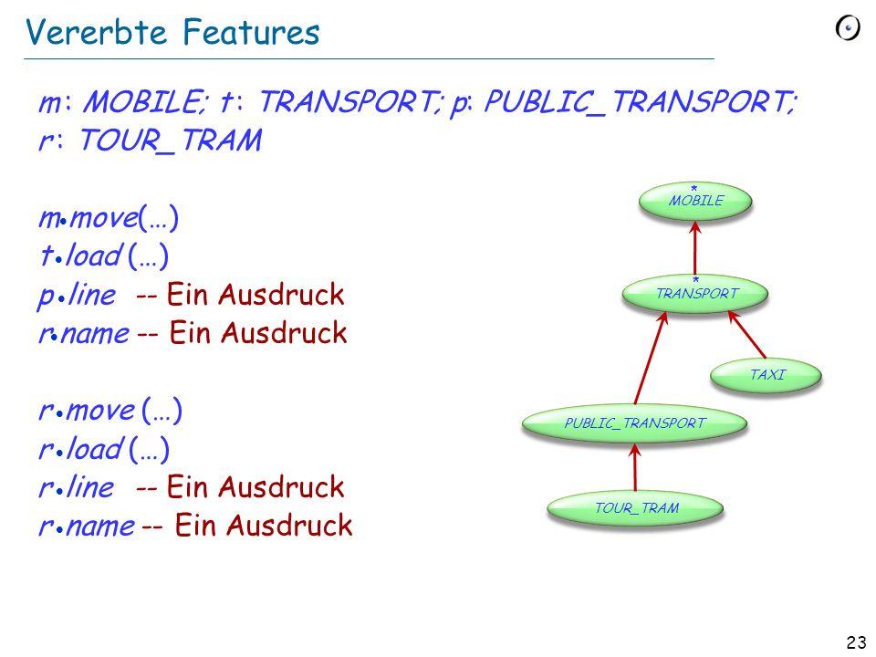 22 Features vererben class TOUR_TRAM inherit PUBLIC_TRANSPORT feature [… Rest der Klasse …] end class PUBLIC_TRANSPORT inherit TRANSPORT feature [… Rest der Klasse …] end deferred class TRANSPORT inherit MOBILE feature [… Rest der Klasse…] end Alle Features von MOBILE sind auch in TRANSPORT verfügbar.