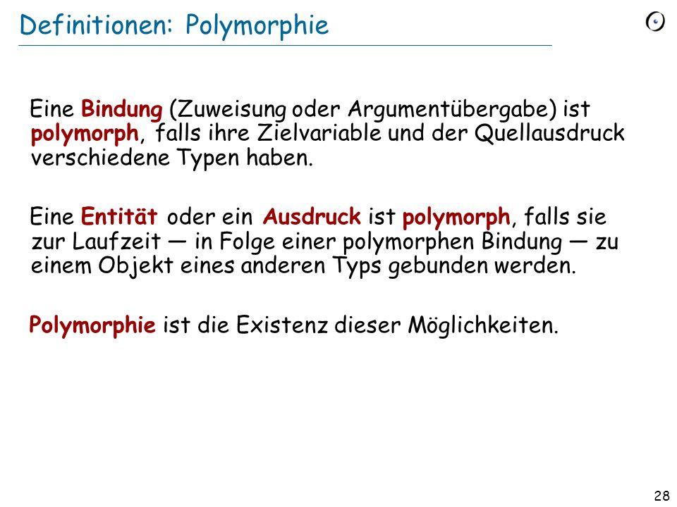 27 Polymorphie gilt auch für Argumente reise_zeit (t : TRANSPORT ): REAL_64 do … end Der Typ des eigentlichen Arguments ist ein echter Nachkomme des Typs des formalen Arguments Ein spezifischer Aufruf: reise_zeit ( tram )