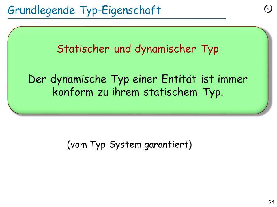 30 Statischer und dynamischer Typ t : TRANSPORT tram : PUBLIC_TRANSPORT (TRANSPORT) (PUBLIC_TRANSPORT) v cab t := tram Statischer Typ von t : TRANSPORT Dynamischer Typ nach dieser Zuweisung: PUBLIC_TRANSPORT